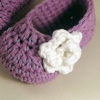 Rose Baby Booties - Lavender And White | Luulla