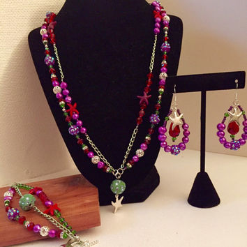 Princess Ariel Inspired Necklace Bracelet snd Earring Set