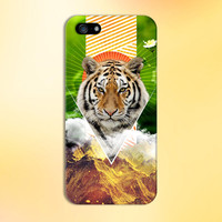 Geometric Orange Tiger x Mountain Nature Phone Case for iPhone 6 6 Plus iPhone 5 5s 5c 4 4s Samsung Galaxy s6 s5 s4 & s3 and Note 5 4 3 2