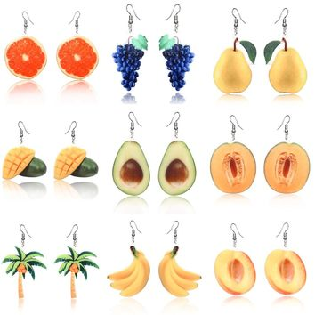 Summer Earrings Dangle Fruit Earrings Peach Grape Coconut tree Orange Earrings Mango earrings for women Cantaloupe Avocado fruit