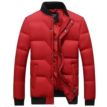 Winter Jacket for Men Parkas Clothing Winter Cotton-Padding Quilted Stand Collar Warm Jacket Warm Winter Cotton Coat For Men