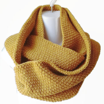 Gold Yellow Wool Blend Infinity Scarf