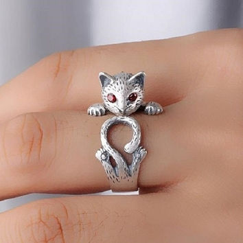 Cool S925 Sterling Silver Lovely Kitten Tail Ring