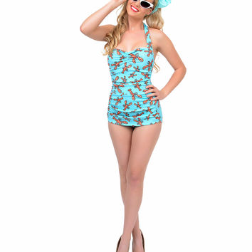 Vintage 1950s Style Pin Up Blue Lobster Swimsuit