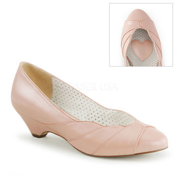 Lulu Baby Pink Kitten Wedge Pump