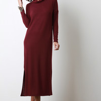 Soft Knit Cowl Neck Maxi Shift Dress