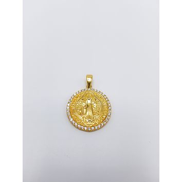 14K Gold White Cubic Zirconia Round ,Two Side Mother Mary and Cross Religious Gold Finish Pendant| 925 Sterling Silver