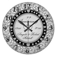 Any Year Anniversary with Hearts Large Clock