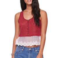 LA Hearts Button Lace Trim Tank - Womens Tees