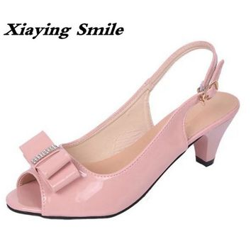 Xiaying Smile New Summer Woman Sandals Spike Heels Women Pumps Bowtie Buckle Shoes Casual Ladies Sweet Candy Colors Women Shoes