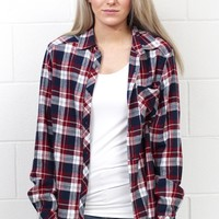Out of the Woods Elbow Patch Plaid Flannel {Ivory+Burgundy Mix}
