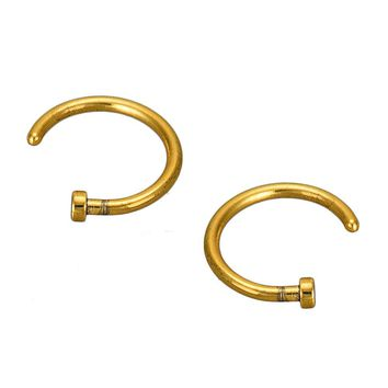 2PCS Stainless Steel Nose Open Hoop Body Piercing Studs Jewelry Gold
