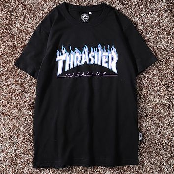 THRASHER Summer Popular Women Men Casual Print Round Collar T-Shirt Top Black