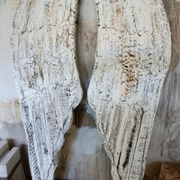 Distressed angel wings wall hanging white rusted hand painted wing set