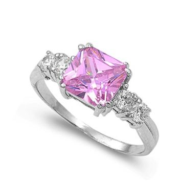 2.5Ct Princess Cut Pink Cubic Zirconia Ring .925 Sterling Silver Sizes 5-10