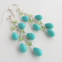 Turquoise green sterling silver earrings by SharonClancyDesigns