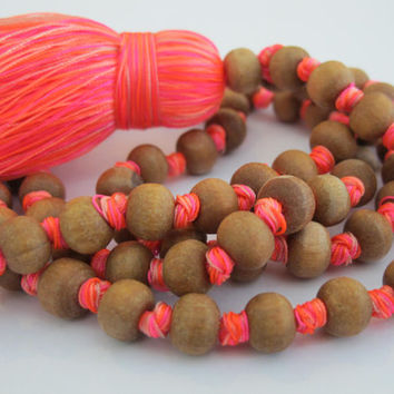 Tassel Necklace- Long Wooden Beaded, Bright Tassel, Mala Prayer Beads