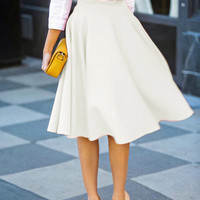 White High Waist Midi Skirt