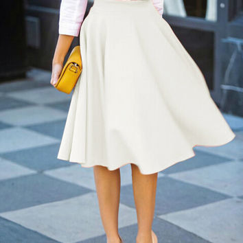 White High Waist Midi Skirt from Midnight Bandit | Skirts