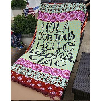Hola Hello Cotton Throw