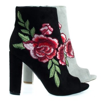 Morris03C Black By Wild Diva, Floral Embroidered Stitching On Peep Toe Chunky Block Heel Ankle Bootie