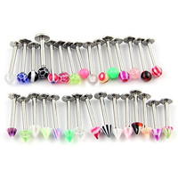 CrazyPiercing 30 PCS Assorted Steel Labret Lip Chin Bar Ring Piercing 1.2Mm Bar 16G Multicolor