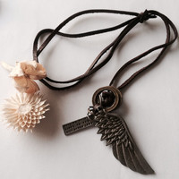 Antique silver leather Necklace - wing charm, cross charm