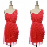 2014 Red Sweetheart Strapless One-Shoulder A-Line Short Bridesmaid Dress,Knee Length Chiffon Evening Prom Dress