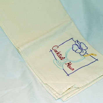 "Hand Embroidered Vintage Design Tea Towel or Bar Towel, ""Cocktail Hour""  Great Gift Idea"