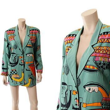 Vintage 80s New Wave Abstract Graphic Jacket 1980s Platinum Dorothy Schoelen Hippie Picasso Oversize Blazer Boyfriend Jacket / S to M