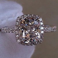 2Cttw 1Ct Center Cushion Cut Lab Made NSCD SONA Diamond Halo Set Engagement Wedding Promise Ring