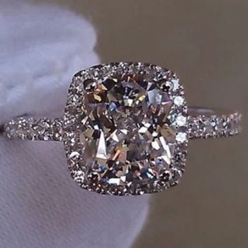 2Cttw 1Ct Center Cushion Cut Lab Made NSCD SONA Diamond Halo Set 25e59a651