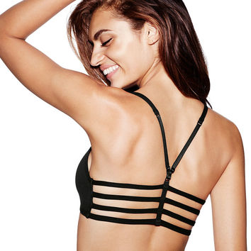 Unlined Cotton Lounge Strappy Bralette - PINK - Victoria's Secret