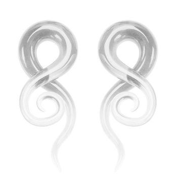 BodyJ4You 2PC Glass Ear Tapers Plugs 4G-16mm Clear Transparent Spiral Gauges Piercing Jewelry Set