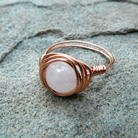 Rose Quartz Ring, Pink Stone Ring, Wire Wrapped Ring, Pink Ring, Copper Ring, Wire Wrapped Jewelry Handmade, Gemstone Ring, Chunky Ring