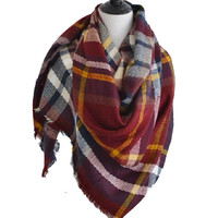 Blanket Scarf- Crimson and Mustard