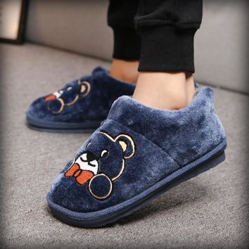 Emoji Slippers Cartoon Warm Plush Home Slipper Couple Indoor Shoes Winter House Shoes