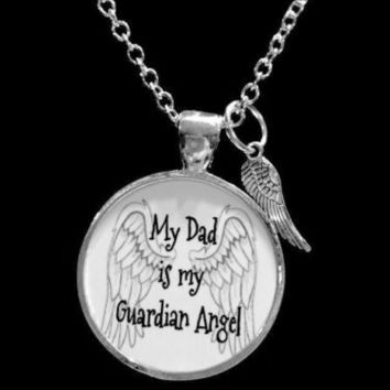Husband Crystal Heart Memorial Guardian Angel Wing Charm Necklace