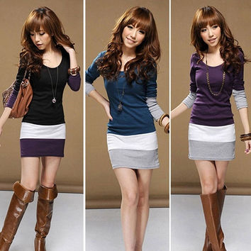 Womens Casual Long Sleeve Bodycon Stripe Cocktail Party Mini Dress S/M/L/XL = 5738837697