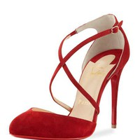 Christian Louboutin Crossbreche Suede Red Sole Pump, Red