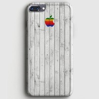 Apple Logo On White Wood Colorful iPhone 7 Plus Case