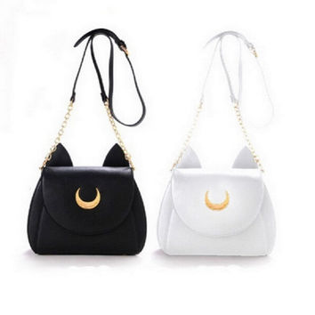 2016 Summer Style Limited Sailor Moon Bag Ladies Handbag Black White Cat Luna Moon Women Messenger Crossbody Bag