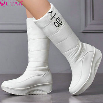 QUTAA Western White PU leather+Down Mid-Calf Round Toe Wedge Med Heel Boots Women Snow Boots Wedding Snow Boots Size 35-40