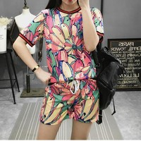 Fashion Casual Multicolor Print Short Sleeve Set Two-Piece Sportswear