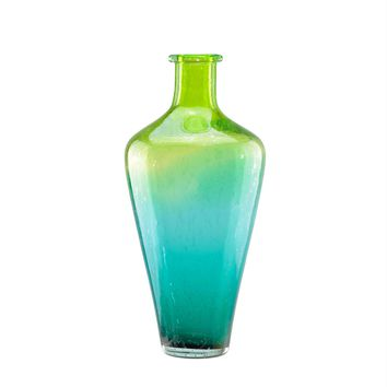 "15"" Chartreuse Green and Teal Blue Ombre Hand Blown Bubble Glass Vase"