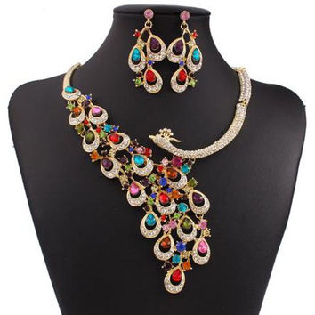 Phoenix Patterned Necklace and Earrings with Gem and Rhinestones