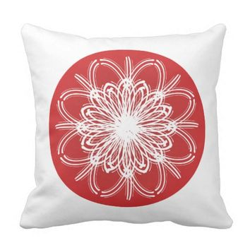Red and White Energy Flower Accent Pillow