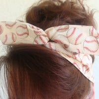 Wire Headband Dolly Bow, Baseball or Softball Sports Rockabilly Pin up Hair Accessory for Girls Teens Women