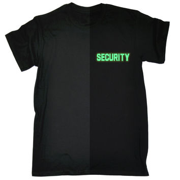 123t USA Men's Glow In The Dark Security Breast Pocket & Back Workwear T-Shirt