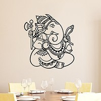 Wall Decal Vinyl Sticker Decals Home Decor Ganesh Hindu Indian God Ganesha Buddha Namaste Yoga Mandala Om Lotus Art Bedroom (6156)